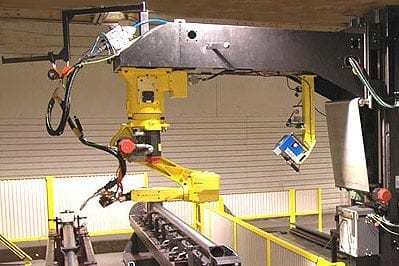 Fanuc robotic welder on track
